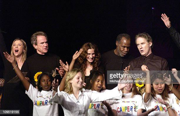 Annette Bening Warren Beatty Julia Roberts Danny Glover and Kevin Kline with children from 'The Hole in the Wall Gang' Camps
