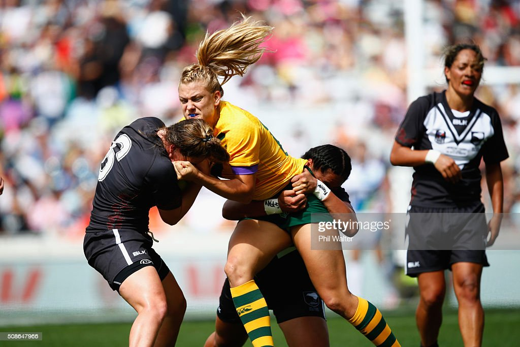 Annette Brander of the Australian Jillaroos is tackled during the 2016 Auckland Nines match between the Australian Jillaroos and the New Zealand Ferns at Eden Park on February 6, 2016 in Auckland, New Zealand.