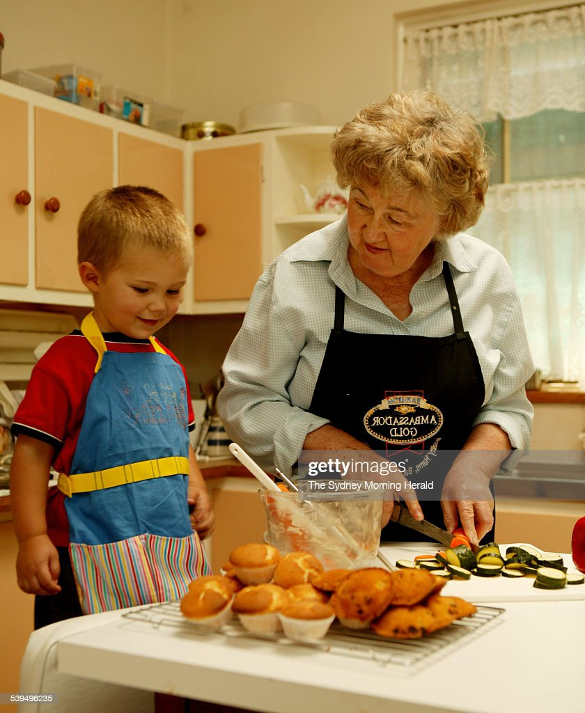 October 2004 From Kitchen Annette Cooper in the kitchen of her Stathfield home with grandson Paddy 2 years old.