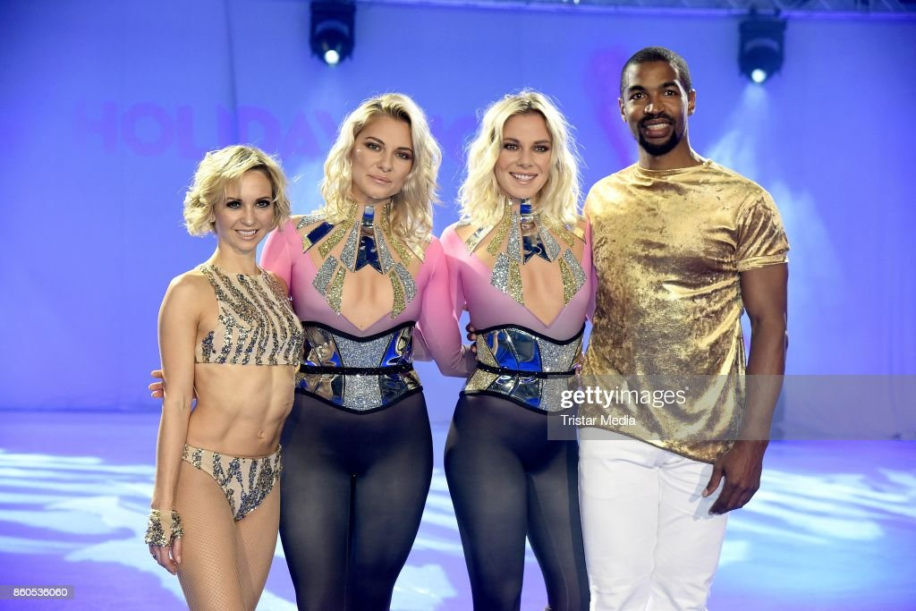Annette Dytrt, Cheyenne Pahde, her sister Valentina Pahde and Yannick Bonheur during the Holiday on Ice Season Opening 2017/18 at Volksbank Arena on October 12, 2017 in Hamburg, Germany.