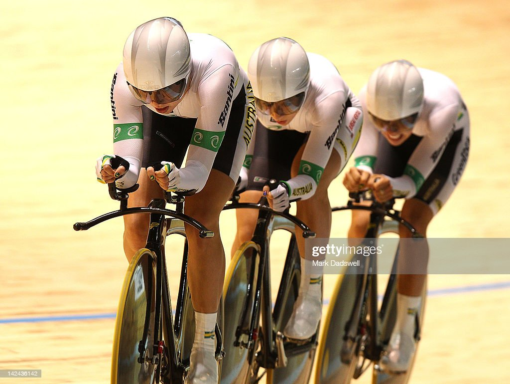 Annette Edmondson, Melissa Hoskins and Josephine Tomic of Australia compete in the Womens Team Pursuit Gold Medal Race at Hisense Arena on April 5, 2012 in Melbourne, Australia.