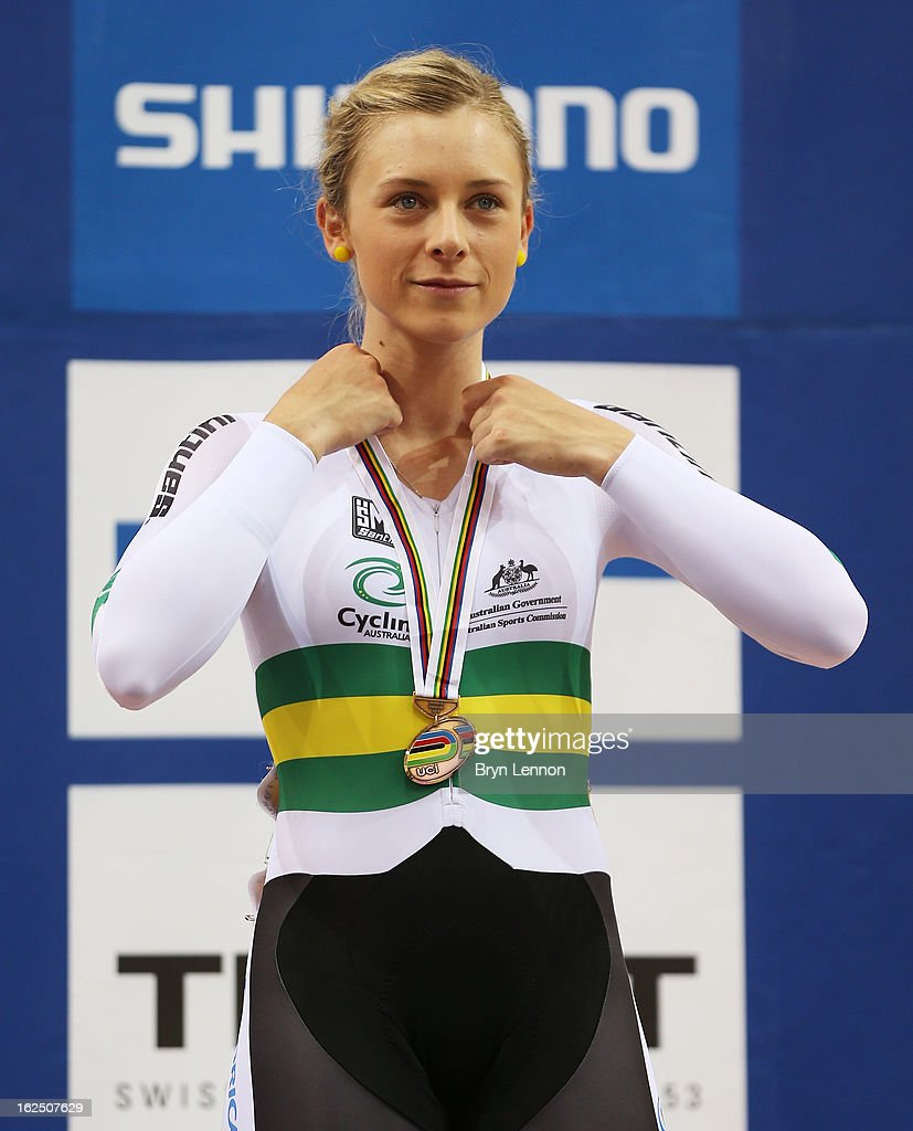 <a gi-track='captionPersonalityLinkClicked' href=/galleries/search?phrase=Annette+Edmondson&family=editorial&specificpeople=4872666 ng-click='$event.stopPropagation()'>Annette Edmondson</a> of Austalia finished 3rd in the Women's Omnium during day five of the 2013 UCI Track World Championships at the Minsk Arena on February 24, 2013 in Minsk, Belarus.