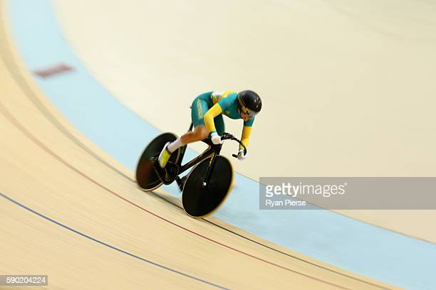 Annette Edmondson of Australia competes during the Women's Omnium Flying Lap 56 race on Day 11 of the Rio 2016 Olympic Games at the Rio Olympic...