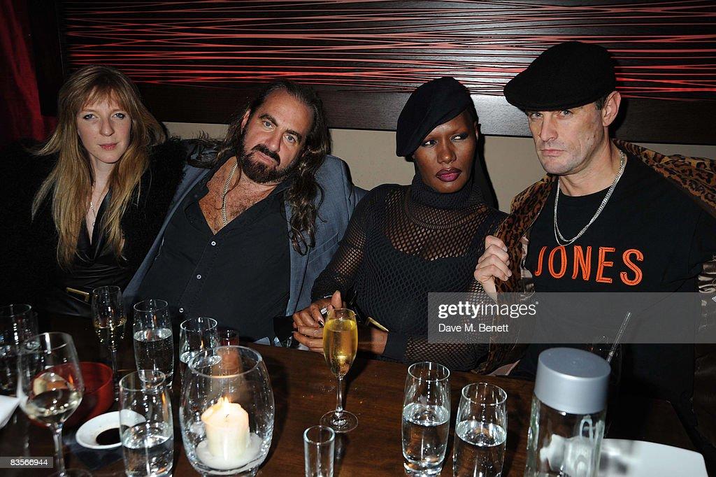 Annette Felder, Arthur Baker, Grace Jones and Mark Jones attend Grace Jones' 'Hurricane' album release dinner at Maddox nightclub on November 4, 2008 in London.