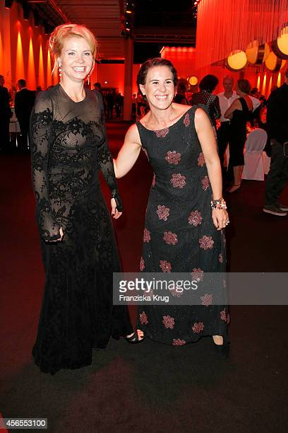 Annette Frier and Antonia de Rendinger attend the Deutscher Fernsehpreis 2014 after show party on October 02 2014 in Cologne Germany