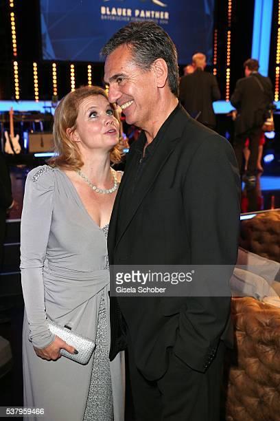 Annette Frier and her husband Johannes Wuensche during the Bayerischer Fernsehpreis 2016 at Prinzregententheater on June 3 2016 in Munich Germany