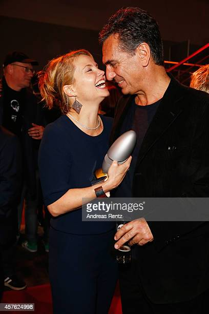Annette Frier and her partner Johannes Wuensche attend the 18th Annual German Comedy Awards at Coloneum on October 21 2014 in Cologne Germany The...
