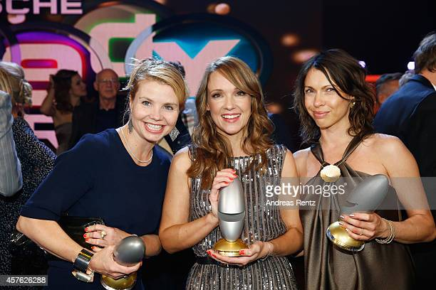 Annette Frier Carolin Kebekus and Jana Pallaske pose with their awards during the 18th Annual German Comedy Awards at Coloneum on October 21 2014 in...