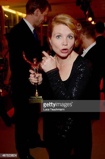 Annette Frier poses with her prize during the Jupiter Award at Cafe Moskau on March 25 2015 in Berlin Germany