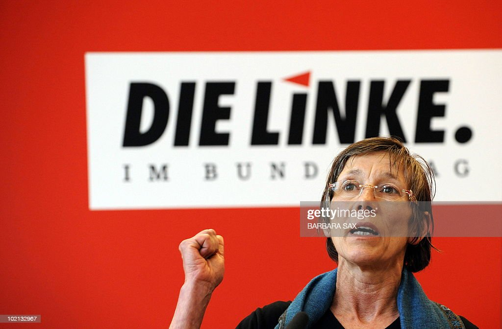 Annette Groth, member of the parliament, who was on board the aid convoy when it was raided at dawn on May 31, 2010, gives a press conference after her return at the office of the parliamentary group of Germany's leftist 'Die Linke' party on June 1, 2010 at the German Bundestag (lower house of parliament) in Berlin. Three visibly shaken Germans who experienced at first hand a deadly raid by the Israeli military on an aid flotilla bound for Gaza denied that anyone on board was armed.