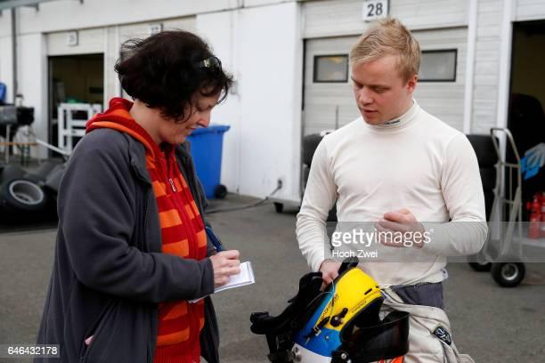 Annette Laqua interviewing 27 Felix Rosenqvist FIA Formula 3 European Championship Test Hungaroring 4 5 April 2014