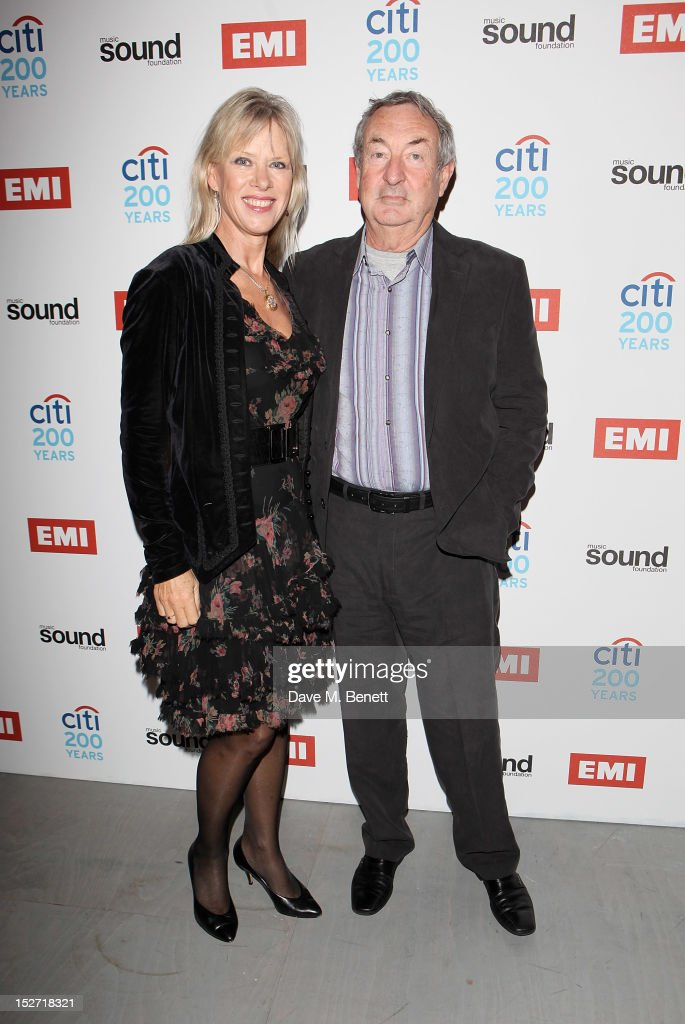 Annette Mason (L) and <a gi-track='captionPersonalityLinkClicked' href=/galleries/search?phrase=Nick+Mason&family=editorial&specificpeople=221394 ng-click='$event.stopPropagation()'>Nick Mason</a> arrive at the EMI Music Sound Foundation fundraiser at Somerset House on September 24, 2012 in London, England.