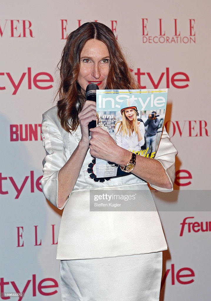 Annette Weber, editor in chief of 'Instyle Streetstyle' gives a speech at the Burda Style Group Cocktail on January 17, 2013 in Berlin, Germany.