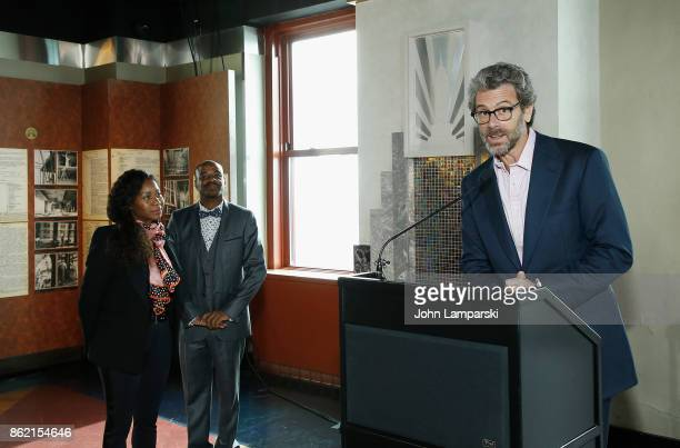 Annette Wiltshire artist Stephen Wiltshire and CEO of Empire Realty Trust Anthony E Malkin attend Empire State Building as it unveils commissioned...