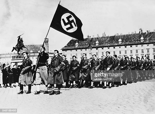 Annexation of Austria in 1938 Rallies in Austria after the invasion of the Wehrmacht Austrian SS march on the Heldenplatz in Vienna to celebrate the...