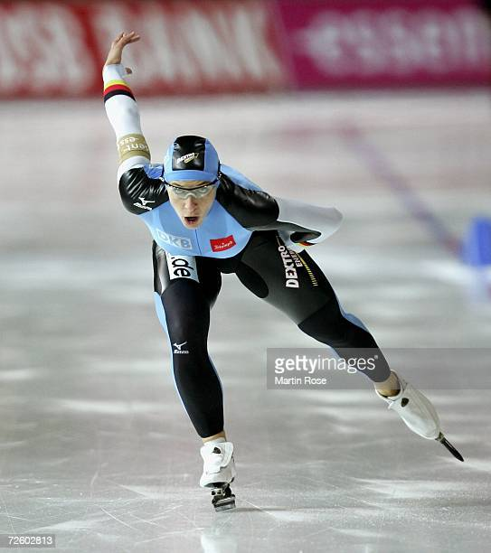 Anni Friesinger of Germany competes in the women's 1000 meters during Day 3 of the Essent ISU Speed Skating World Cup at the Sportforum...