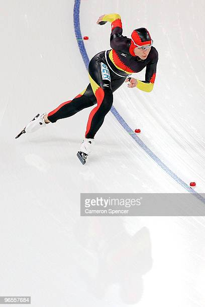 Anni Friesinger of Germany competes in the women's speed skating 1000 m practice held at Pacific Coliseum ahead of the Vancouver 2010 Winter Olympics...