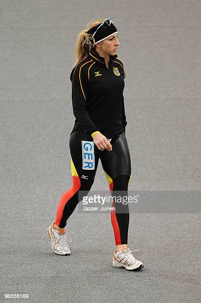 Anni Friesinger of Germany look on during training held at the Richmond Olympic Oval head of the Vancouver 2010 Winter Olympics on February 10 2010...