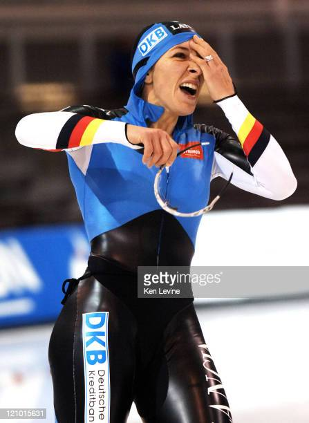 Anni Friesinger of Germany reacts after seeing her time in the Womens 1000m Essent ISU World Cup Speed Skating event at the Olympic Oval in Salt Lake...