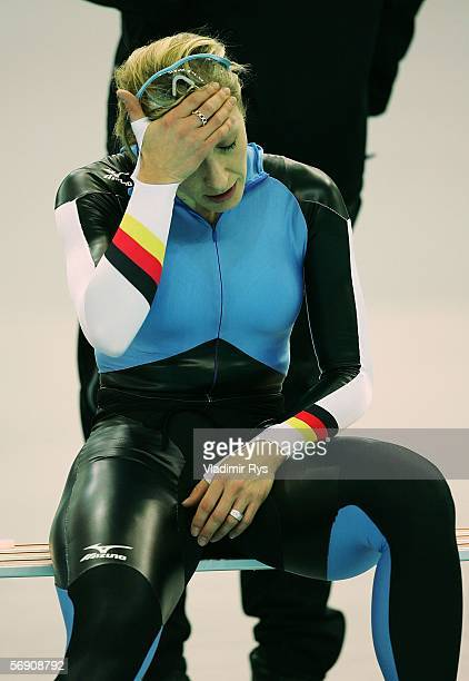 Anni Friesinger of Germany reacts after skating in the 1500m women's Speed Skating Final during Day 12 of the Turin 2006 Winter Olympic Games on...