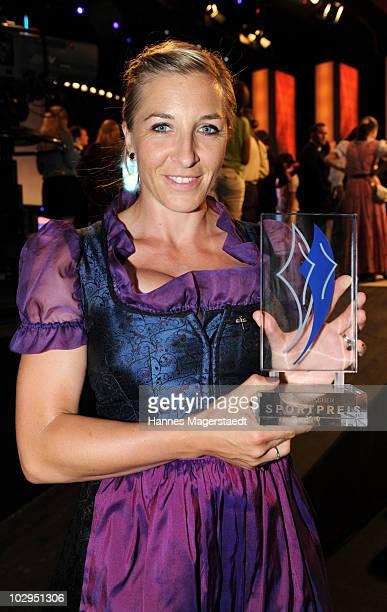 Anni Friesinger Postma receives the Bavarian Sport Award 2010 at the International Congress Center Munich on July 17 2010 in Munich Germany
