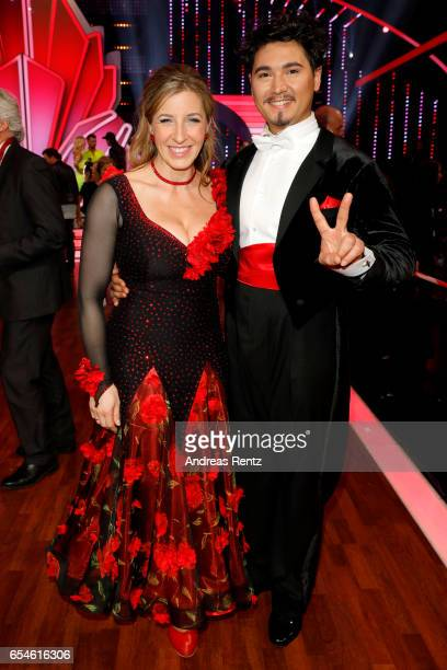 Anni FriesingerPostma and Erich Klann pose after the 1st show of the tenth season of the television competition 'Let's Dance' on March 17 2017 in...