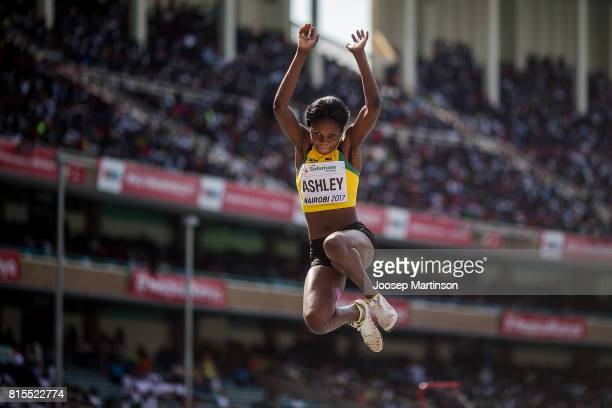 Annia Ashley of Jamaica competes in the girls long jump during day 5 of the IAAF U18 World Championships at Moi International Sports Centre Kasarani...