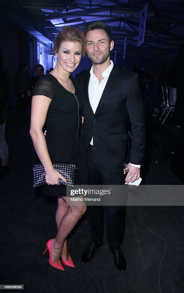 Annica Hansen and her boyfriend Marcel attend the Thomas Rath fashion show during Platform Fashion Dusseldorf on February 2, 2014 in Dusseldorf, Germany.