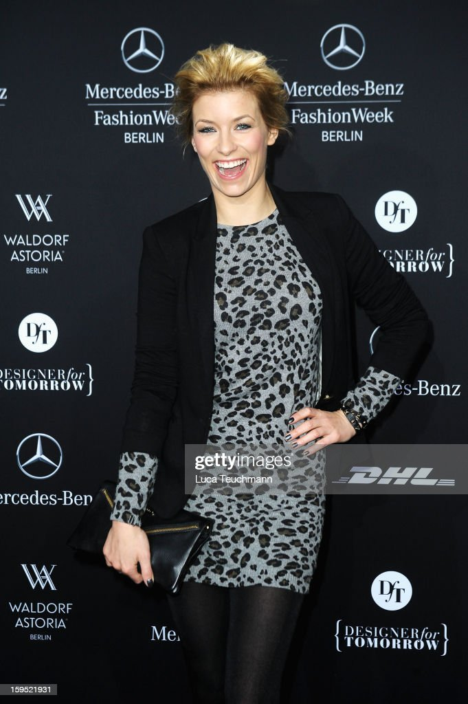Annica Hansen attends Lena Hoschek Autumn/Winter 2013/14 fashion show during Mercedes-Benz Fashion Week Berlin at Brandenburg Gate on January 15, 2013 in Berlin, Germany.