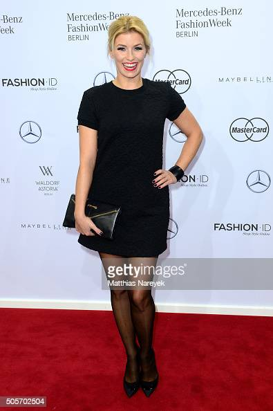 Annica Hansen attends the Riani show during the MercedesBenz Fashion Week Berlin Autumn/Winter 2016 at Brandenburg Gate on January 19 2016 in Berlin...