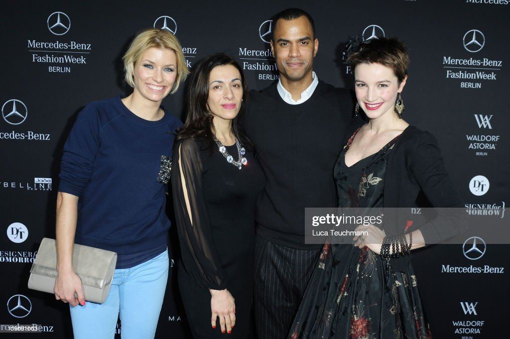 Annica Hansen, Ilknur Boyraz, Patrice Bouedibela and Wanda Badwal attend Anne Gorke Autumn/Winter 2013/14 fashion show during Mercedes-Benz Fashion Week Berlin at Brandenburg Gate on January 15, 2013 in Berlin, Germany.