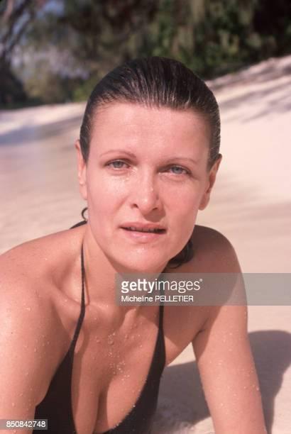 Annick de Villiers ancienne femme de Gérard de Villiers en avril 1980