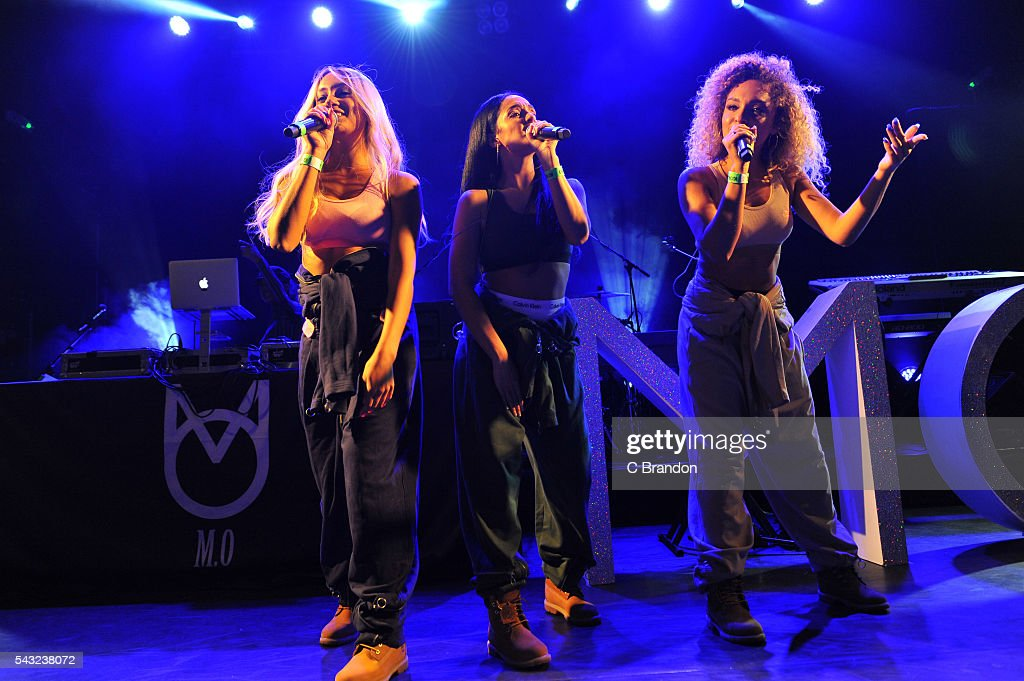 Annie Ashcroft, Nadine Samuels and Frankie Connolly of M.O perform on stage at KOKO on June 26, 2016 in London, England.