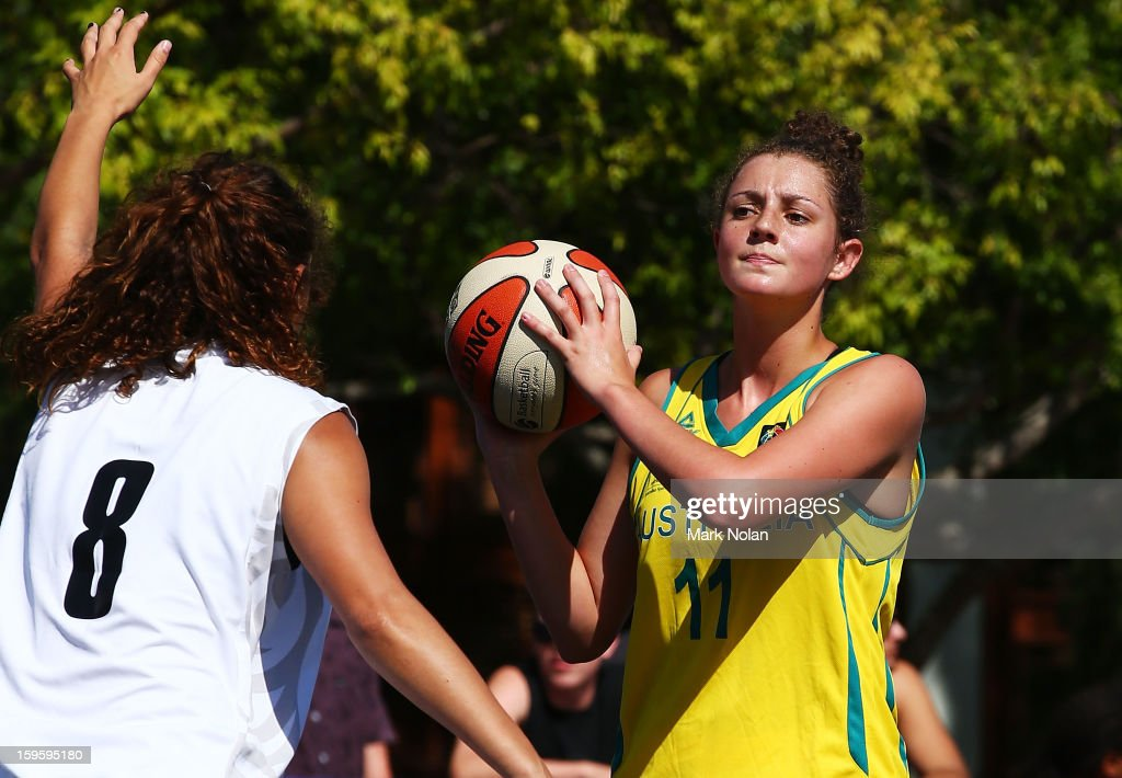 Annie Blackburn of Australia Green in action in the Womens Basketball 3x3 match between Australia Green and New Zealand during day two of the 2013 Australian Youth Olympic Festival at Darling Harbour on January 17, 2013 in Sydney, Australia.