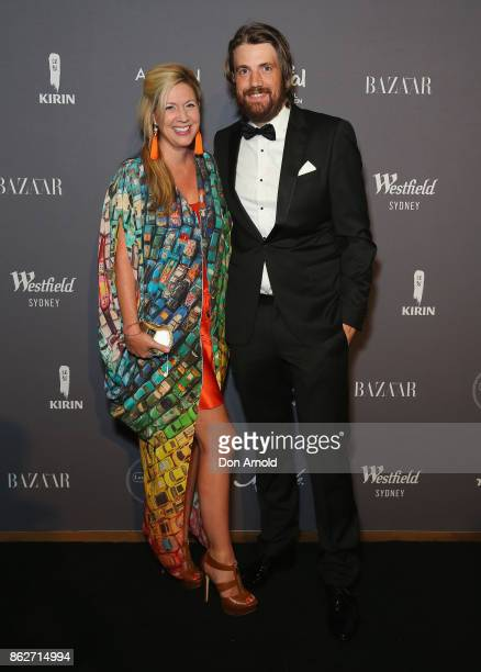 Annie CannonBrookes and Mike CannonBrookes arrives ahead of BAZAAR in Bloom at The Ivy on October 18 2017 in Sydney Australia