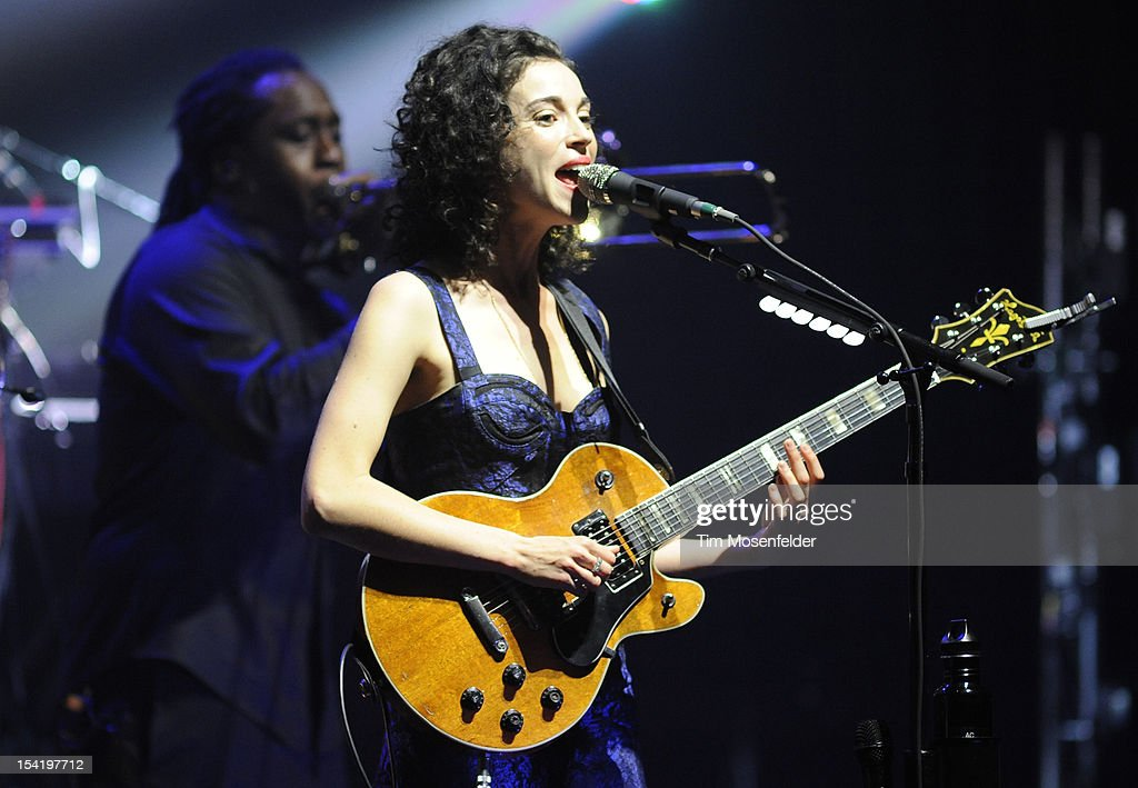 Annie Clark aka St. Vincent of David Byrne & St. Vincent perform in support of the duo's Love This Giant release at the Orpheum Theatre on October 15, 2012 in San Francisco, California.