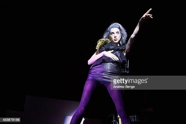 Annie Clark aka St Vincent performs on stage at Leeds Metropolitan University on August 20 2014 in Leeds United Kingdom