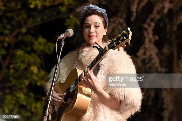 Annie Clark aka St Vincent performs onstage during the MusiCares house concert with Ben Gibbard St Vincent and The War On Drugs on December 6 2015 in...
