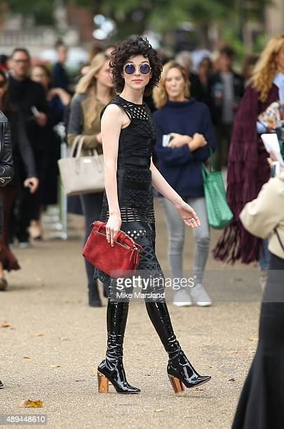 Annie Clark attends the Burberry Prorsum show during London Fashion Week Spring/Summer 2016/17 on September 21 2015 in London England