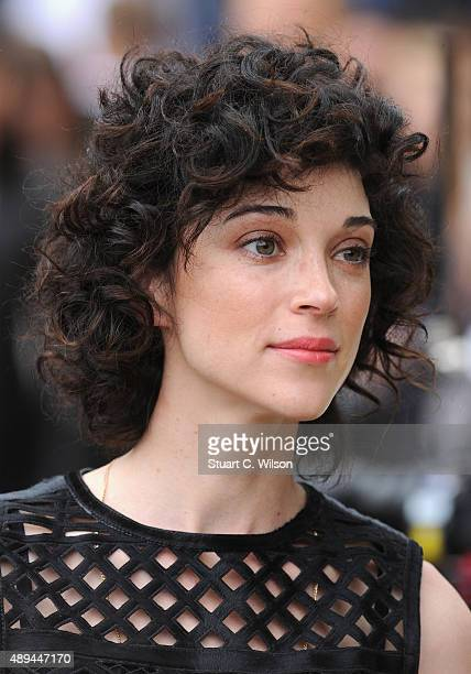 Annie Clark attends the Burberry Womenswear Spring/Summer 2016 show during London Fashion Week at Kensington Gardens on September 21 2015 in London...
