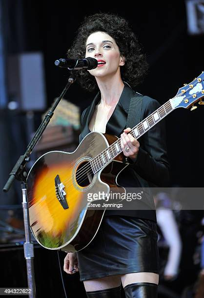 Annie Clark St Vincent performs at the 29th Annual Bridge School Benefit concert at Shoreline Amphitheatre on October 25 2015 in Mountain View...