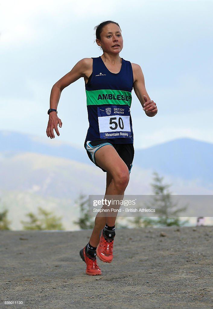 Annie Conway of Great Britain in action during the European Mountain Running Championship Trials at Whinlatter Forest on May 28, 2016 in Keswick, England.