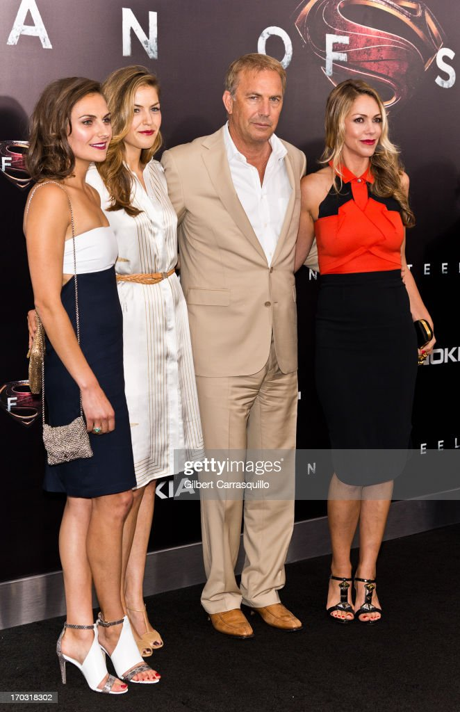 Annie Costner, Lily Costner, actor Kevin Costner and wife Christine Baumgartner attend 'Man Of Steel' World Premiere at Alice Tully Hall at Lincoln Center on June 10, 2013 in New York City.