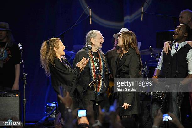 Annie D'Angelo Willie Nelson and Amy Nelson perform on stage at the Hard Rock International's Wille Nelson Artist Spotlight Benefit Concer at Hard...