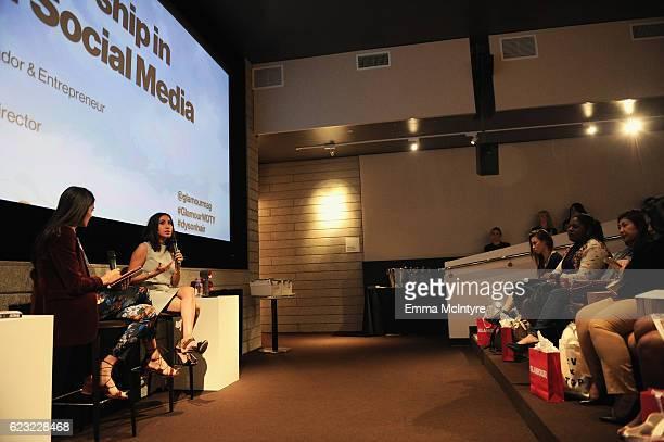 Annie Fox Glamour senior executive digital director and Jen Atkin celebrity stylist Dyson ambassador entrepreneur speak at Glamour Women Of The Year...