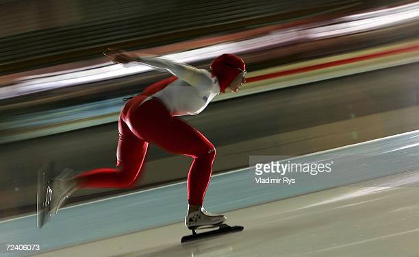 Annie Friesinger of DEC competes in 1500m track during the Speed Skating Single Distance German Championships at the GundaNiemannStirnemann Hall on...
