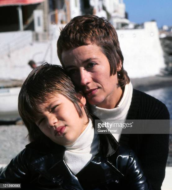Annie Girardot with her daughter Giulia in Cadaques 13th October 1970 Girona Spain