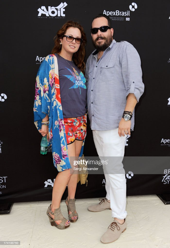 Annie Goldman (L) and Sean Yamuni attend the ABEST & ABIT Brazilian Swimwear Designers Cocktail Party during Mercedes-Benz Fashion Week Swim 2014 at The Raleigh on July 20, 2013 in Miami, Florida.