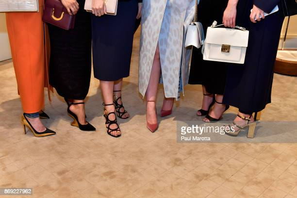 Annie Goldman Elissa Garza Robbin Mangano guest Katherine Tabinowski and Samantha Crompton attend the Opening of the Salvatore Ferragamo Copley Place...
