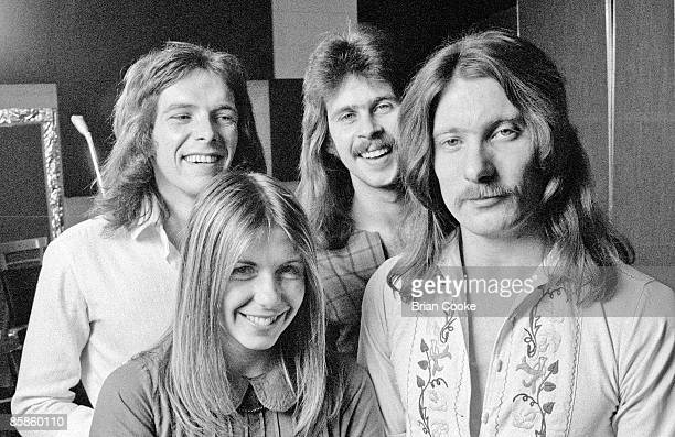 Annie Haslam Terry Sullivan Jon Camp John Tout of Renaissance posed at De Lane Lea Music Wembley North London on June 29 1973